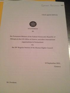Statement by about my report to the United Nations ( Human Rights Council - Page 1 United Nations Human Rights, Human Rights Council, Ethiopia, Proposal, This Or That Questions
