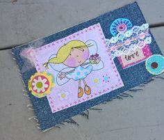 hippie patched denim angel love  boho gypsy patch work upcycled blue jean patches