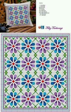 Floral pattern designed by Filiz Türkocağı Beaded Cross Stitch, Cross Stitch Borders, Cross Stitch Flowers, Cross Stitch Charts, Cross Stitch Designs, Cross Stitching, Cross Stitch Embroidery, Embroidery Patterns, Cross Stitch Patterns