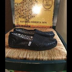 Toms Shoes Worn maybe twice.. Black glittery shoe.. Very nice TOMS Shoes Flats & Loafers