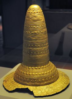 The Golden Hat of Schifferstadt was discovered in a field near the town of Schifferstadt in Southwest Germany in 1835. It is a Bronze Age artefact made of thin sheet gold and served as the external decoration of a head-dress, probably of an organic material, with a brim and a chin-strap.