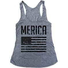 Hand Screened Tank-grey 'Merica, Triblend Eco-tank ** Want to know more, click on the image. (This is an affiliate link) #Clothing