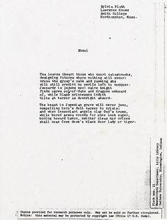 Sylvia Plath Poems | SYLVIA PLATH | ENNUI TYPESCRIPT (FINAL DRAFT)