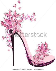 Shoes on a high heel decorated with butterflies by Marina99, via Shutterstock