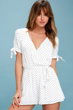 Lulus Exclusive! From date night to brunch with the babes, the Cute Stuff Black and White Polka Dot Tie-Sleeve Romper is a perfect fit! Lightweight woven fabric, with a black polka dot print, creates a plunging surplice bodice, and short sleeves with cute, tying cuffs. Elasticized waist, with sash belt, tops breezy shorts.