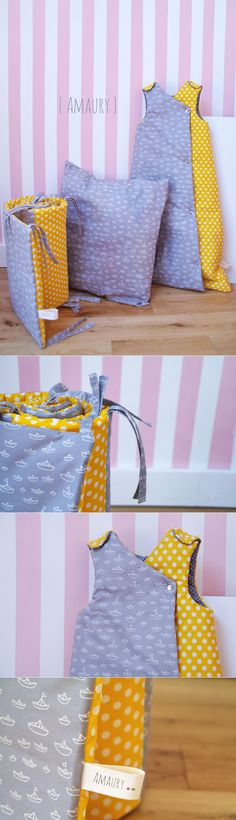 a baby set : sleeping bag, bed valance and pillow