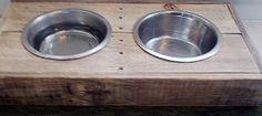 Reclaimed rustic pallet furniture dog bowl