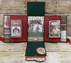 Stamperia Vintage Christmas 6 x 9 Folio Tutorial Christmas Mini Albums, Christmas Minis, Vintage Christmas, Mini Scrapbook Albums, Scrapbook Cards, Smash Book Pages, Paper Bag Album, Diy Crafts For Girls, Cardboard Box Crafts