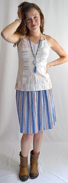 Vintage Blue and Red Striped Lanz Style Cotton Full Skirt Elastic Waist 24 to 40 Inches by ChrisMartinDesigns on Etsy