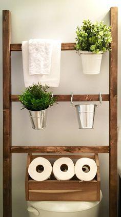 Farmhouse towel rack. Over the toilet storage. Decorative blanket ladder. Bathroom organization. afflink