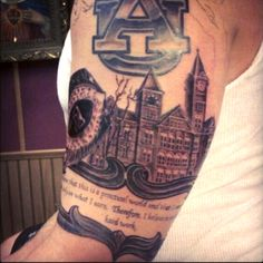 Tattoo of the Day: Former Auburn Tigers lineman Lee Zimbea dedicates arm sleeve to Auburn.