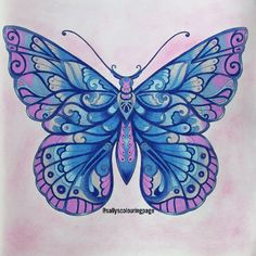 Take a peek at this great artwork on Johanna Basford's Colouring Gallery! Butterfly Drawing, Butterfly Design, Butterfly Wings, Butterfly Watercolor, Coloring Book Art, Adult Coloring Pages, Diy Y Manualidades, Johanna Basford Coloring Book, Butterfly Pictures