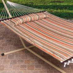 Porch Make Over  2 Person Free Standing Hammock, 13 Ft. Sienna Stripe Quilted Hammock with Steel Stand