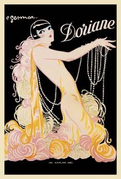This is a beautiful fine art giclee print of a vintage French advertising art poster from the 1920's in Paris, France. It is entitled ' Doriane' and features a beautiful French showgirl adorned in pearls and feathers, by the French artist, Charles Gesmar.
