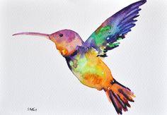 ORIGINAL Watercolor painting Hummingbird with by ArtCornerShop