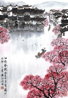 changan-moon:   Traditional Chinese painting, 江南春晓... - Wabi-sabi 佗 寂