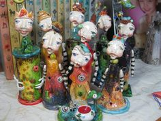 "Group 1 of my ""Legions"" - Handmade, individually sculpted, ceramic clay, fired many times! - by Sunny Carvalho"
