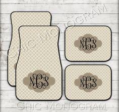 Beige Quatrefoil Monogrammed Car Mats Monogram Carmats Floor Custom Accessories For Her Decor Cute Tan