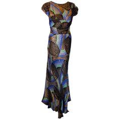 1930s Gold metallic deco fabric custom made Bias-cut gown