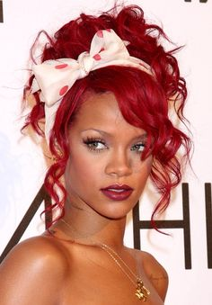 #Rihanna #Hairstyle #bow #red #polkadot
