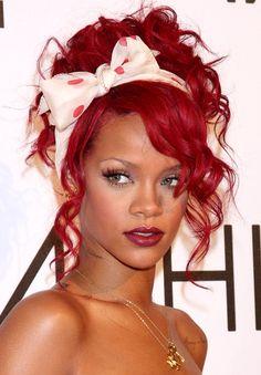 #Rihanna #Hairstyle #bow #red #polkadot