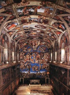 Sistine Chapel - Interior of the Sistine Chapel 1 by Michelangelo Buonarroti, 1535-1541