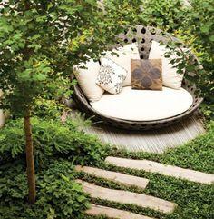 Garden reading nook, via Apartment Therapy