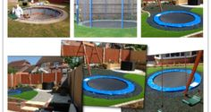 A trampoline is so much fun for kids. The idea I am introducing you today add an extra layer of safety and coolness to the regular trampoline. The idea is to Sunken Trampoline, Best Trampoline, Backyard Trampoline, Outdoor Toys For Kids, Outdoor Fun, Outdoor Decor, Backyard Garden Design, Backyard Landscaping, Backyard Ideas