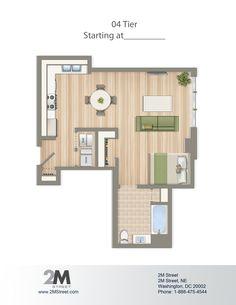 Efficiency/Studio Floor Plan | 2M Street in Northeast Washington DC | WC Smith #Apartments | NoMa #PetFriendly #Rentals