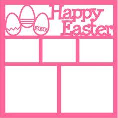 Happy Easter Eggs - Laser Die Cut Scrapbook Overlay