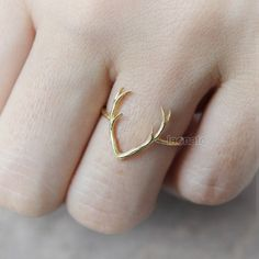 Deer Antler Ring / choose your color gold and silver by laonato