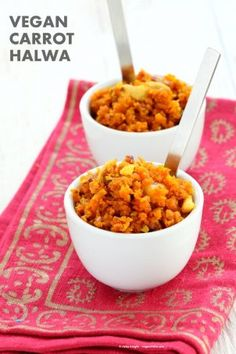Vegan Carrot Halwa Recipe. Gajar Ka Halwa is a a dessert made with shredded carrots that are roasted with non dairy milk and cardamom to make A moist cardamom Carrot Cake crumble. Vegan Gluten-free Soy-free Recipe.
