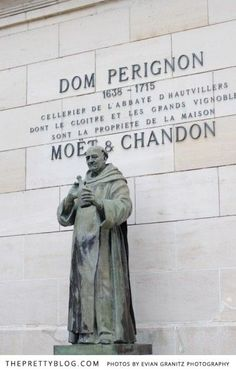 Dom Perignon Statue at Moët et Chandon, Epernay, France. I have been here and sampled the wine. Champagne Region France, Don Perignon, Moët Chandon, Paris Bucket List, Ville France, French History, Reims, In Vino Veritas, Romantic Getaway