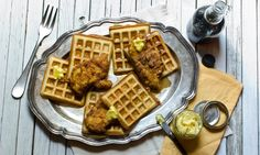 *This recipe was created as part of our Great Chicken Challenge recipe competition! See our page for more info*  For this recipe we've used a southern favorite, House-Autry Hushpuppy mix, as the base for the waffles. The slight savory note to the waffles gives great balance to the meal, especially against chicken prepared with House-Autry Chicken Fry and a show-stopping finish of honey mustard butter made with House-Autry Honey Mustard Dippin' Sauce. Yummy Chicken Recipes, Yum Yum Chicken, Great Recipes, Breakfast Waffles, Pancakes, Food Experiments, Honey Mustard, Cookie Monster, Fried Chicken