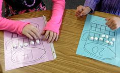 Math center, counting for kindergarten, maybe with cotton balls instead of marshmallows