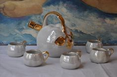 Vintage French Liquor Set, Limoges Porcelain, Barware, Lusterware Cups, French Porcelain, Paris Home Decor, Christmas Gift, Made in France by FrenchArtAntiques on Etsy Paris Home Decor, French Home Decor, French Art, French Vintage, French Cocktails, Antique Tea Cups, Liquor, Tea Party, Christmas Gifts