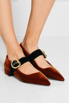 Heel measures approximately 20mm/ 1 inch Brown and black velvet Buckle-fastening…