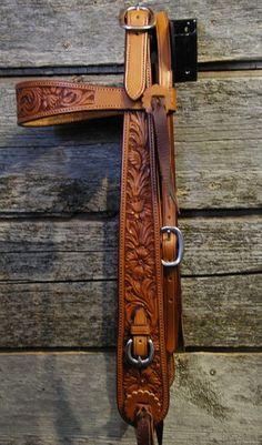 Buckaroo tooled bridle from Custom Cowboy Shop; needs JWP hardware