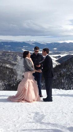 Mountain winter ski wedding