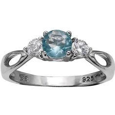 Primrose Sterling Silver Blue & White Cubic Zirconia 3-Stone Ring ($18) ❤ liked on Polyvore featuring jewelry, rings, blue, 3 stone ring, blue jewelry, 3 stone cz ring, blue sterling silver rings and blue cubic zirconia ring