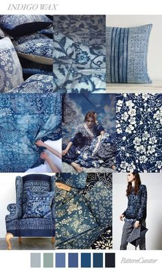 Indigo is looking like a key colour for It was mentioned in detail when Pantone revealed their 2018 home+interiors palette, and Pattern Curator is touting its strong influence during the Spring and Summer Pattern Curator, Color Patterns, Print Patterns, Design Patterns, Fashion Trends 2018, Deco Champetre, Color Trends 2018, Design Trends 2018, Design Textile