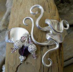 Fork Bracelet - Bridal Wreath 1950 Silver Plated Fork Bracelet with Amethyst and Swarovski Crystals