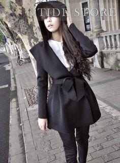 Vogue Japanese Style Pure Color Hooded Long Cotton Outerwear : tidestore.com