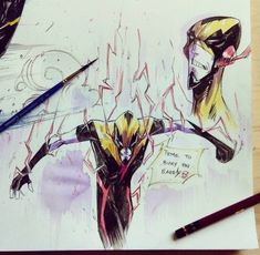 I was gonna draw Flash again but took a complete 360 turn instead. Flash Sketch, Flash Drawing, Flash Comics, Dc Comics, Reverse Flash New 52, Eobard Thawne, Flash Wallpaper, Spiderman Art, Character Design Animation