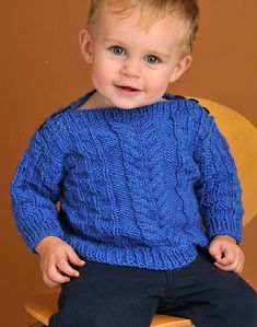 Knitting Pattern for Baby Boatneck Pullover - This sweater features a cozy cable pattern and buttons at the shoulders for easy dressing. Sizes Chest 22 One of the patterns in 60 Quick Baby Knits Sirdar Knitting Patterns, Baby Cardigan Knitting Pattern Free, Baby Sweater Patterns, Baby Boy Cardigan, Toddler Sweater, Quick Knits, Sweater Design, Knitting For Kids, Baby Sweaters
