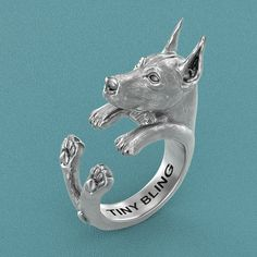 Doberman Pinscher Breed Jewelry Cuddle Wrap Ring