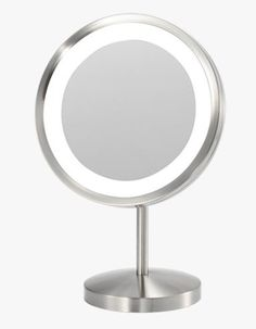 "Aurora Makeup Mirror is a 9"" diameter round countertop mirror, with 25 watt incandescent lighting emanating from the mirror's border, with 5X magnification, framed in polished chrome or brushed nickel, and cord connection."