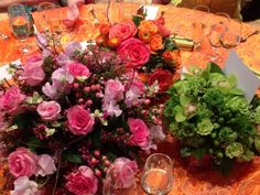 Luncheon flowers colorful pink bright fun