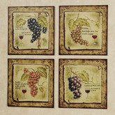 Tuscany Grapes Plaque Set  Set of Four