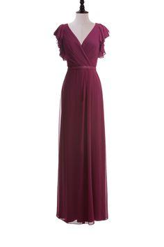 Flutter Sleeve Chiffon Dress with Sequin Belt